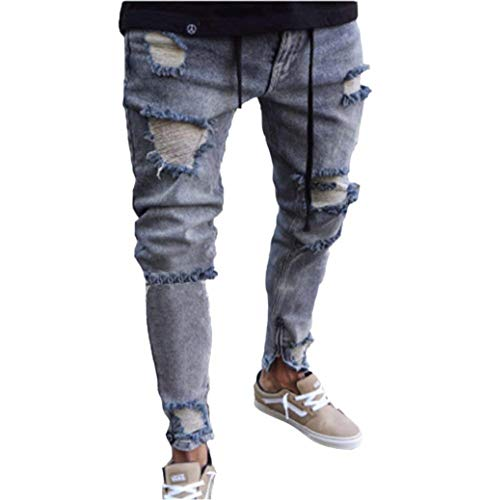 Vintage Moto Denim Jeans Hip grigio Comodo Cerniera Pantaloni Battercake Con Streetwear Da Uomo Hop Grau Slim Fit Strappati nId0qxz8