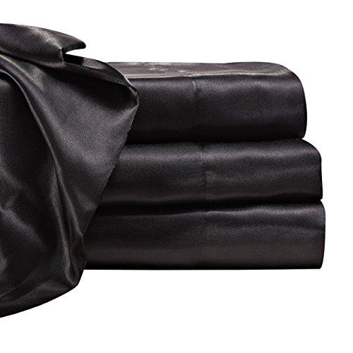 Satin Radiance 201 3SS Luxury Charmeuse Satin Sheet Set Deep Fitting Pockets, 4 Piece Sheet Pillowcase Set - Queen, (Silk Pillow Top Mattress)