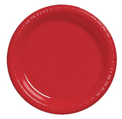 Creative Converting 50-Count Touch of Color Plastic Banquet Plates, Classic Red -