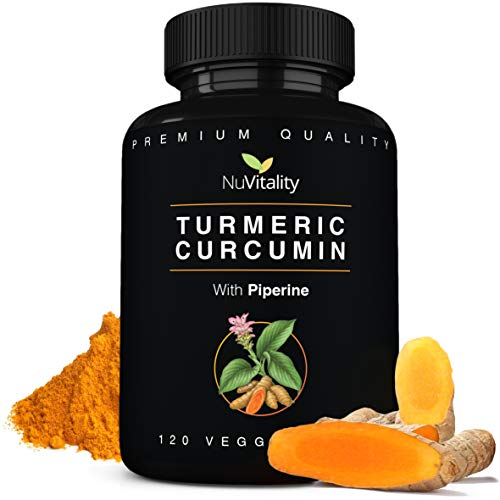 Turmeric Curcumin with Piperine (Black Pepper Extract) - 120 Veggie Capsules - Premium Quality with 95% Standardized Curcuminoids - Best Absorption & Potency - Pain Relief & Joint Support Supplement (P Black Capsules)