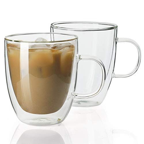 Sweese 413.101 Glass Coffee Mugs - 12.5 oz Double Walled Insulated Mug Set with Handle, Perfect for Latte, Americano, Cappuccinos, Tea Bag, Beverage, Set of 2