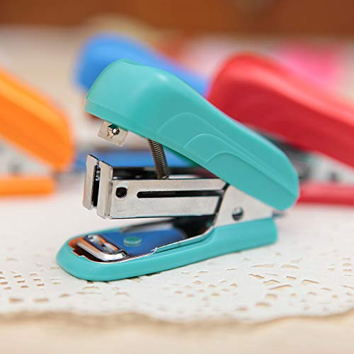 IANXI Home Stapler Colorful Series Mini Stapler Set Business Office Supplies (Color : Blue) (Business Cards Staples)