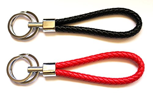 Wpeng Red and Black Braided Leather Key-chains Keyring Handbags Charms Deluxe Key Holder Leather & Steel(2 PCS)