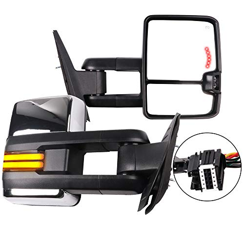 OCPTY Rearview Mirrors, Power Heated Towing Mirrors ForChevy Silverado Pickup New Body Style Models 2007 Chevy 2008-2014 GMC 2007-2014 with chroming housing Lights Running Lights