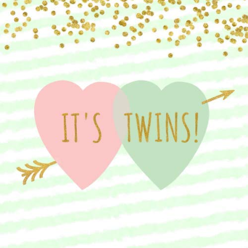 Arrow Through Heart - It's Twins!: Mint Green, Pink & Gold Confetti Cupid's Arrow Through Double Heart Sign In Guestbook for Baby Shower or Gender Reveal Party - Square ... Lines for Email, Name and Address + GIFT LOG