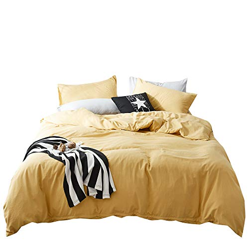 (FenDie Solid Cotton Microfiber Duvet Cover Lightweight Polyester Yellow Duvet Cover Twin Soft Wahsed Bedding Set 3 Piece (1 Duvet Cover + 2 Pillowcases), Skin-Friendly and Comfy)