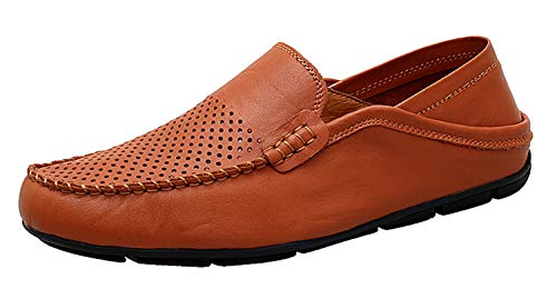 Go Tour Men's Premium Genuine Leather Casual Slip On Loafers Breathable Driving Shoes Fashion Slipper Brown Punched 8/41