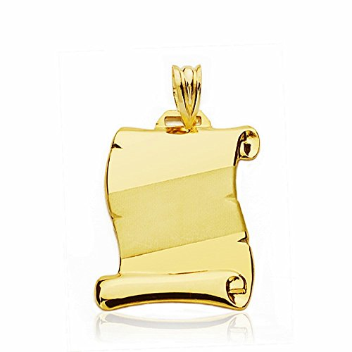 Parchemin pendentif 23mm 18k bande d'or. [AA2457]