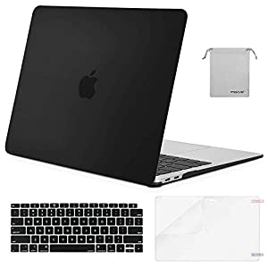MOSISO MacBook Air 13 Inch Case 2018 Release A1932 with Retina Display, Plastic Hard Shell & Keyboard Cover & Screen Protector & Storage Bag Only Compatible Newest MacBook Air 13, Black