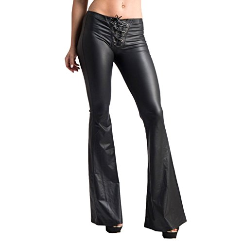 Pink Queen Women's Faux PU Club Metallic Bodycon Flare Pants Petite Black L (Pant Flare Slim)