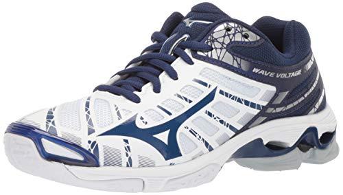 Mizuno Women's Wave Voltage Volleyball Shoe, white-navy, 8.5 B US