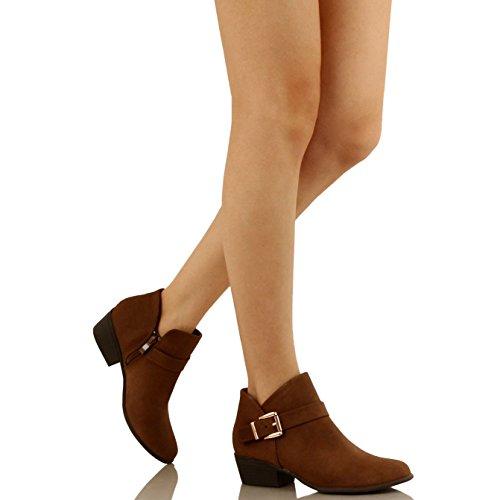 Guilty Schuhe Damen Blockabsatz Geschlossene Zehe - Riemchen Stiefeletten Brownv2 Nubuk