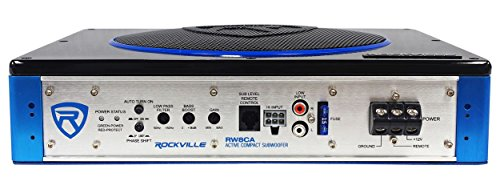 Rockville RW8CA 8'' 600 Watt Under-Seat Slim Amplified Car Subwoofer +Wire Kit by Rockville (Image #1)