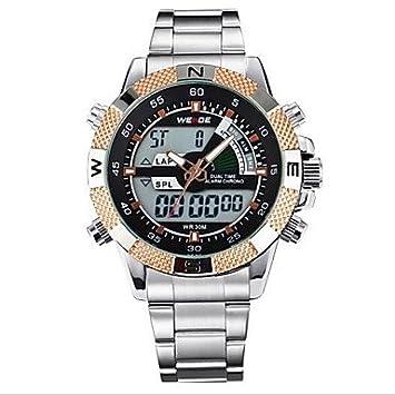 Relojes Hermosos, Acero completa cuarzo de la marca de lujo del reloj del deporte de los hombres analógica lcd weide® pantalla digital ...