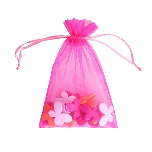 ATCG 100pcs 8x12 Inches Large Drawstring Organza Bags Wedding Party Favor Gift Candy Pouches (HOT PINK)