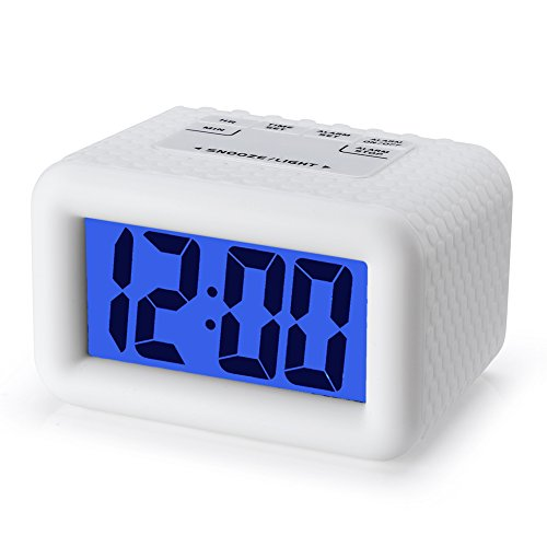 Easy Setting, Plumeet Digital Alarm Clock with Snooze and Nightlight, Large LCD Display Travel Alarm Clock, Ascending Sound Alarm & Handheld Sized, Good for Kids (White)