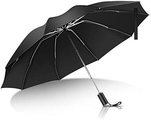 折りたたみ傘 ワンタッチ自動開閉 頑丈な10本骨 メンズ シンプル 台風対応 梅雨対策 耐風 超撥水 高強度グラスファイバー 105CMサイズ 晴雨兼用 収納ポーチ付き (ブラック)