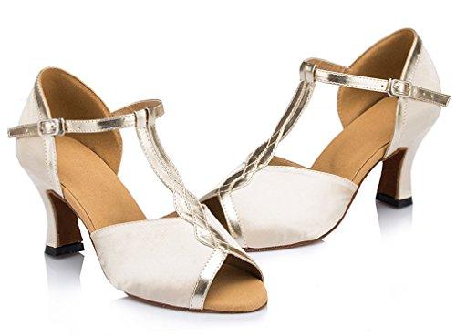 Elfenbein Honeystore Tanzschuhe Silber T Damen's Latein Pfennigabsatz Riemen Glitter Wqgr7P8Tqw