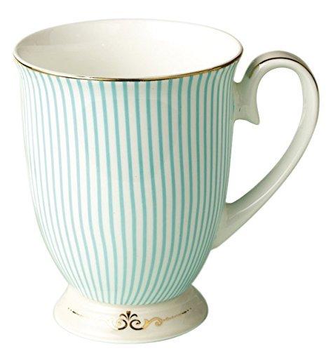 FlorisHome Fine Bone China Light Blue Stripe Coffee Mug Tea Cup 11 oz 330 ml (Fine Bone China Mug)