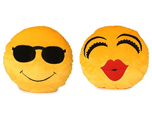 Deals India Soft COOL Dude Smiley and Kiss Smiley Cushion   35 cm smiley2 amp;3  Set of 2