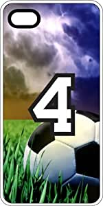 Soccer Sports Fan Player Number 4 White Plastic Decorative iPhone 5c Case