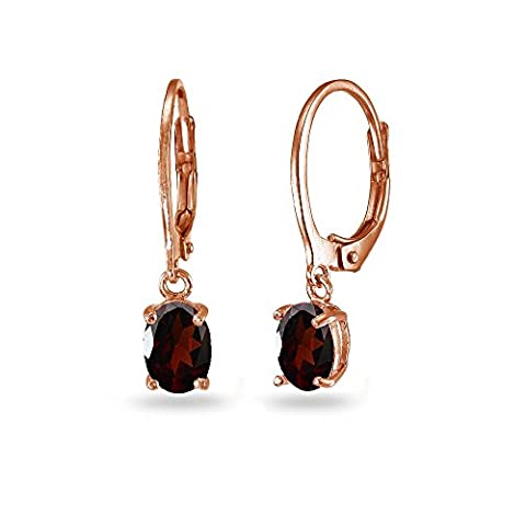 LOVVE Rose Gold Flashed Sterling Silver Garnet 7x5mm Oval Dangle Leverback Earrings (Ring Garnet Gold)
