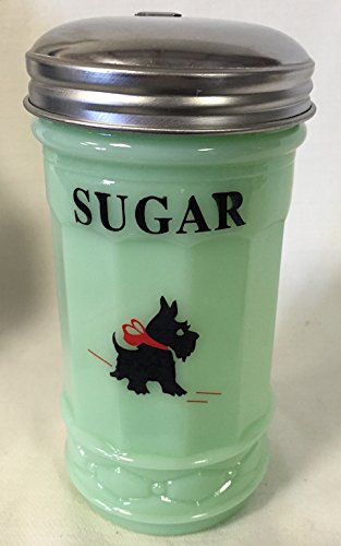Jadeite Green Restaurant Style Sugar Shaker Dispenser - Red Bow Scottie Dog by Rosso Glass