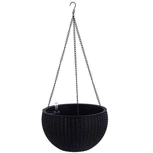 Watering Honey Elegant Self Watering Hanging Flower Plant Pot Chain Basket Planter Holder with Water level gauge~Black