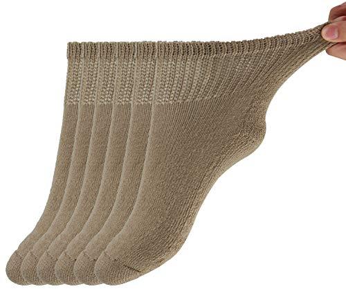 MD Diabetic Socks Mens and Womens Half Cushion Circulatory Quarter Socks for All Seasons Loose Fit 6 Pack 13-15 Brown
