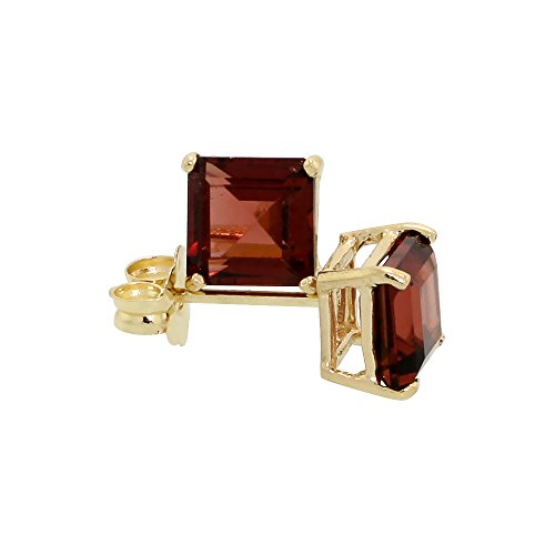 14K Yellow Gold 5 mm Natural Garnet Square Stud Earrings 1 cttw January Birthstone by Silver City Jewelry