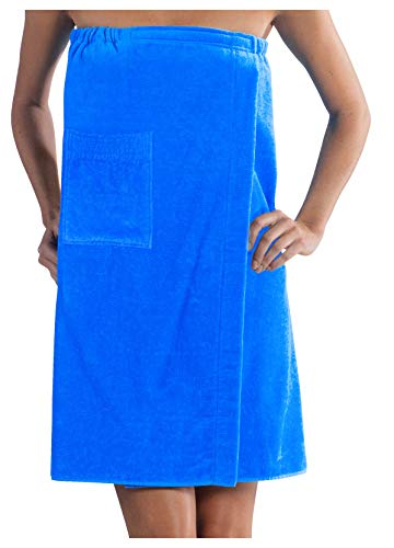 - Ladies Bath Wrap Terry Cotton Women Cover Up, Made in USA,Aqua, One Size
