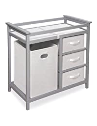 Badger Basket Modern Changing Table with 3 Baskets and Hamper (Gray) BOBEBE Online Baby Store From New York to Miami and Los Angeles