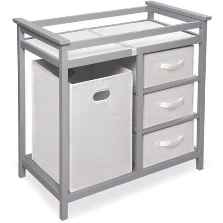 Badger Basket Modern Changing Table with 3 Baskets and Hamper (Gray) Review