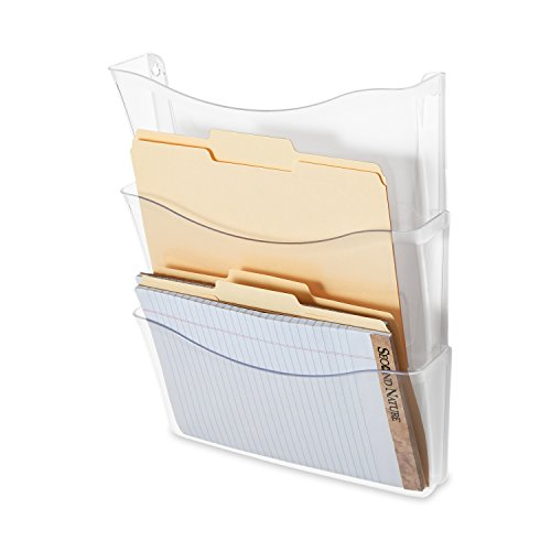 Rubbermaid Unbreakable Expandable Three-Pocket Wall File Set, Clear (65976) (Plastic Expandable Hanger)