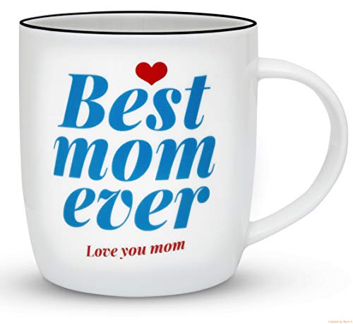 Gifffted Worlds Best Mom Ever Coffee Mug, Great Birthday Gifts Ideas For Mom From Daughter and Son, Greatest Moms Presents Anniversary Gift Cups, Christmas, Mothers Day Mugs, Valentines, 13Oz Cup, V2