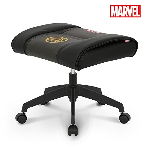 Licensed Marvel Ottoman Foot Rest Seat Stool Makeup Chair w/Wheel : Height Adjustable Office Home Furniture Premium PU Leather, Neo Chair (Iron Man, Black) by Neo Chair