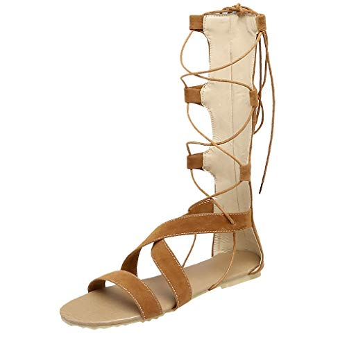 Women Sandals Summer Sexy Bandage Hollow Out Sandals Flat Heel High Boots Open Toe Shoes for Beach Yellow]()