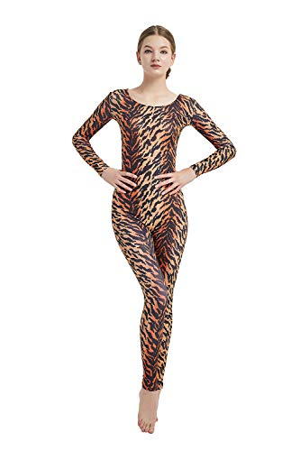 Full Bodysuit Womens Long Sleeve One Piece Jumpsuit Lycra Spandex Zentai Unitard (Large, Tiger)]()