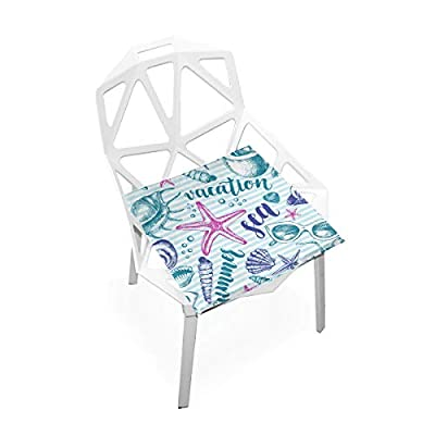 HNTGHX Outdoor/Indoor Chair Cushion Sea Conch Starfish Stripe Square Memory Foam Seat Pads Cushion for Patio Dining, 16