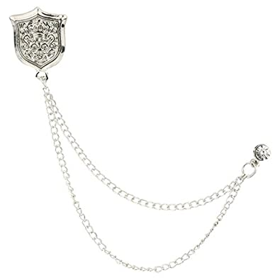 TRIPIN Silver Shield Shape Lapel PIN Collar Chain Brooch BROOCHES