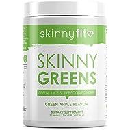 SkinnyFit Skinny Greens, Green Juice Superfood Powder, Green Apple Flavor, Increase Energy & Focus, Optimize Digestion, Spirulina, Chlorella, 30 Servings