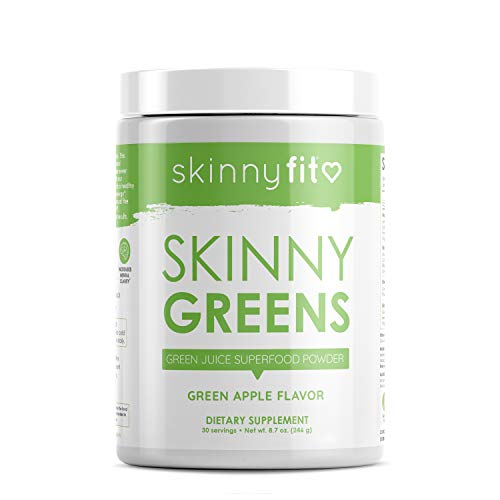 SkinnyFit Skinny Greens, Green Juice Superfood Powder, Green Apple Flavor, Increase Energy & Focus, Boost Metabolism, Optimize Digestion, Transform Your Health, 30 Servings (Best Way To Prepare Formula For The Day)