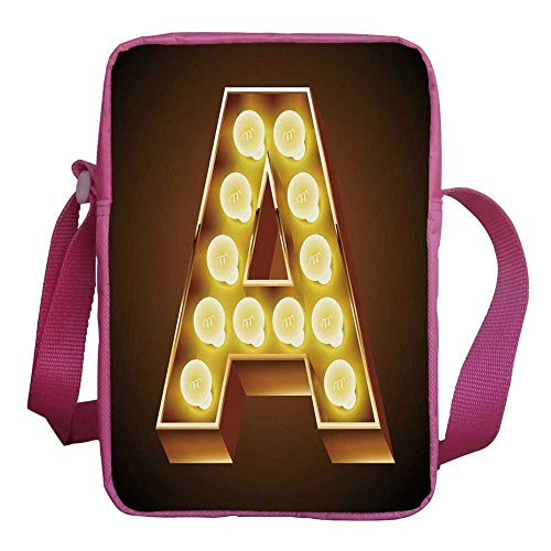Letter A Stylish Kids Crossbody Bag,The First Letter of the Alphabet Symbol Old Cinema Inspired Design Image for Girls,9