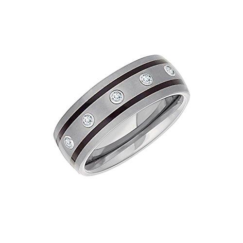 Enamel Diamond Mens Bands - Tungsten 8.3mm .25 CTW Diamond & Enamel Dome Band Size 12 , Ring Size 12