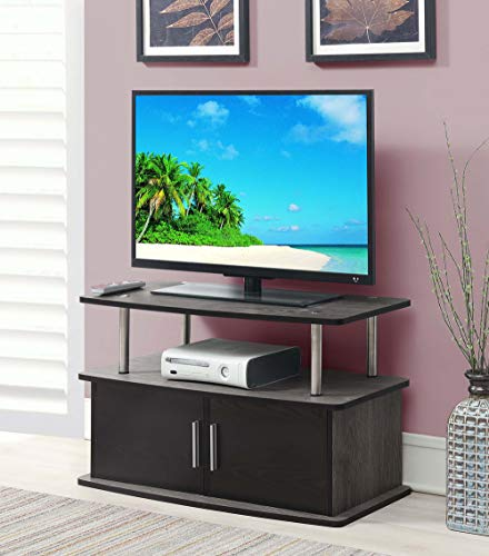 (Convenience Concepts 151165WGY Designs2Go Deluxe 2-Door TV Stand with Cabinets, Weathered)