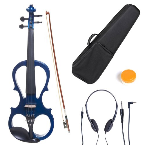 Cecilio 4/4 CEVN-1BL Solid Wood Electric/Silent Violin with Ebony Fittings in Style 1 - Full Size - Blue Metallic by Cecilio