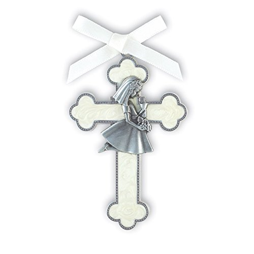 (Silver Toned White Enamel First Communion Hanging Wall Cross with Kneeling Girl, 3 1/2 Inch)