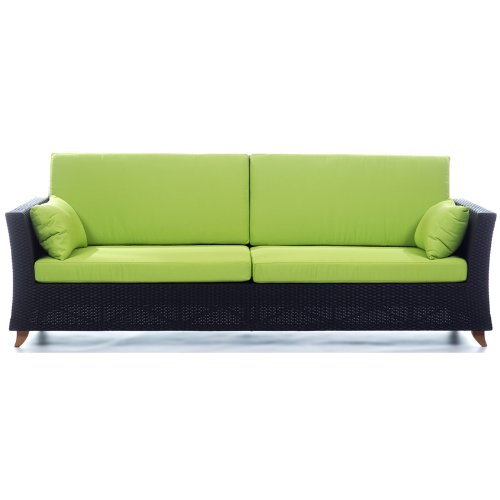 All Things Cedar PR90g Rattan 4 Seater All Weather Wicker Sofa with Cushion, Lime Green