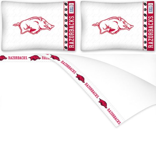 Arkansas Ncaa Sheet Set (4pc NCAA Arkansas Razorbacks King Bed Sheet Set College Team Logo Bedding Accessories)