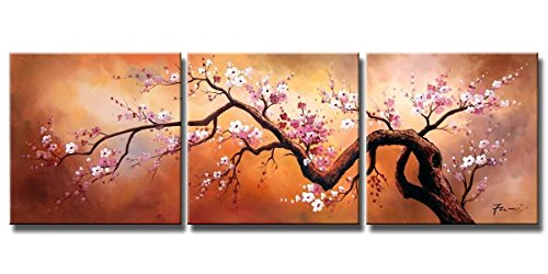 FLY SPRAY ART 3 Panels Framed 100% Hand Painted Oil Paintings Pink Guest-Greeting Plum Tree Blooming Abstract Wall Art Decor Natural Landscape Large Size